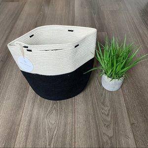 Mia Melange Foldable Cotton Basket Cream & Black